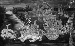 The Ramakian Ramayana mural paintings are black and white color isolated wall along the galleries of the Temple of the Emerald stock photography