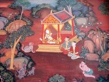 从Ramakien的场面在曼谷玉佛寺,曼谷,泰国 库存图片