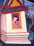 从Ramakien的场面在曼谷玉佛寺,曼谷,泰国 库存照片