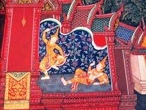 从Ramakien的场面在曼谷玉佛寺,曼谷,泰国 免版税库存图片