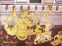 从Ramakien的场面在曼谷玉佛寺,曼谷,泰国 免版税库存照片
