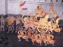 从Ramakien的场面在曼谷玉佛寺,曼谷,泰国 图库摄影