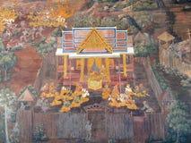 从Ramakien的场面在曼谷玉佛寺,曼谷,泰国 免版税图库摄影