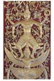 Ramakien表现木雕刻的sclupture在天堂森林中间的白色背景的 免版税图库摄影