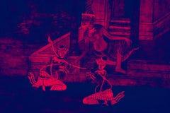 Ramakien Ramayana de v?gg- m?lningarna f?rgar den svarta och rosa illustrationen l?ngs galleritapeten och konstbakgrunden royaltyfri foto