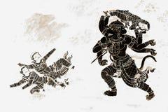 Ramakien Ramayana malowidła ściennego obrazy barwią czerń i złoto na biel ściany ilustracji wzdłuż galerii tapety sztuki bac i obrazy royalty free