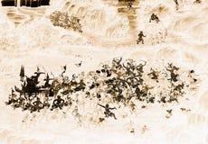 Ramakien Ramayana malowidła ściennego obrazy barwią czerń i złoto na biel ściany ilustracji wzdłuż galerii tapety sztuki bac i zdjęcie royalty free