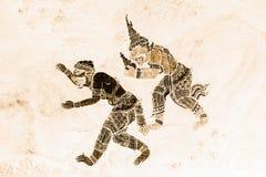 Ramakien Ramayana malowidła ściennego obrazy barwią czerń i złoto na biel ściany ilustracji wzdłuż galerii tapety sztuki bac i zdjęcie stock
