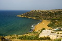 Ramala bay - red sands. Gozo. Bay view Royalty Free Stock Photo