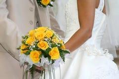 Ramalhete amarelo do casamento fotos de stock