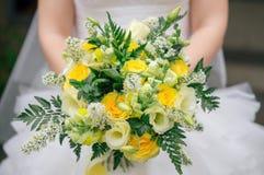 Ramalhete amarelo do casamento do outono foto de stock