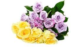 Ramalhete amarelo e roxo das rosas imagem de stock