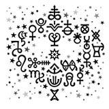 Ramalhete astrológico ( sinais astrológicos e symbols) místico oculto; , fundo celestial do teste padrão com ilustração royalty free