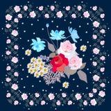 Ramalhete bonito de flores de jardinagem no quadro floral Guardanapo, bandanna, cartão com rosas, cosmos e margaridas Projeto do  ilustração stock