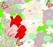 Ramalhete bonito de tulipas e de borboletas vermelhas e cor-de-rosa Fotos de Stock Royalty Free