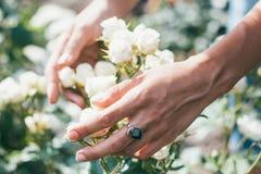 Ramalhete bonito do casamento nas mãos da noiva Fotos de Stock