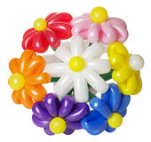 Ramalhete com as flores de balão isoladas no fundo branco Imagens de Stock