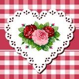 Ramalhete cor-de-rosa do vintage no coração do laço ilustração stock