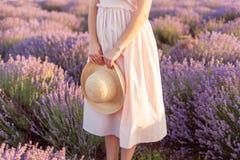 Ramalhete da alfazema em um fedora tecido do chapéu fotos de stock