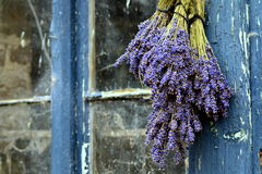 Ramalhete da alfazema na janela de madeira Fotos de Stock Royalty Free