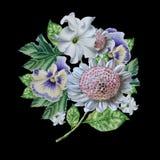 Ramalhete da aquarela com flores petunia pansies Fotos de Stock