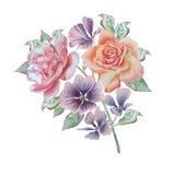 Ramalhete da aquarela com flores Rosa Peônia geranium Foto de Stock