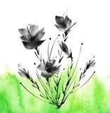 Ramalhete da aquarela das flores Fundo floral ilustração royalty free