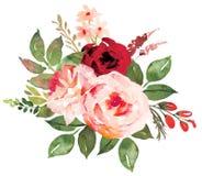 Ramalhete da flor com o vermelho rosas cor-de-rosa Imagens de Stock Royalty Free