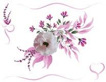 Ramalhete da flor da aquarela ilustração stock