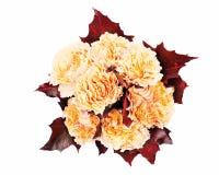Ramalhete da flor das rosas e das folhas de plátano amarelas Imagens de Stock