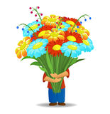 Ramalhete da preensão dos homens das flores Fotografia de Stock
