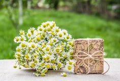 Ramalhete das camomilas e de uma caixa de presente Presente no eco-estilo Ervas úteis imagens de stock