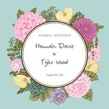 Ramalhete das flores Cartão de casamento Foto de Stock