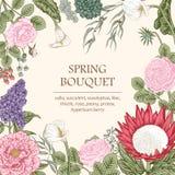Ramalhete das flores Cartão de casamento Imagens de Stock