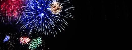 Ramalhete das flores coloridas dos fogos-de-artifício indicadas no céu noturno imagem de stock royalty free