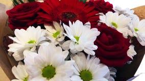 Ramalhete das flores com rosas vermelhas, margaridas e gerberas video estoque