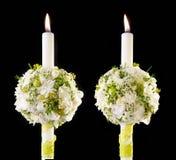 Ramalhete das flores com velas Foto de Stock