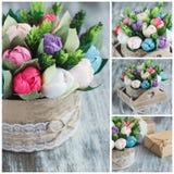 Ramalhete das flores de papel coloridas e das decorações Imagem de Stock Royalty Free