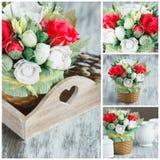 Ramalhete das flores de papel coloridas e das decorações Imagem de Stock
