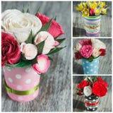 Ramalhete das flores de papel coloridas e das decorações Fotografia de Stock