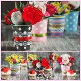Ramalhete das flores de papel coloridas e das decorações Imagens de Stock Royalty Free