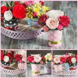 Ramalhete das flores de papel coloridas e das decorações Fotos de Stock Royalty Free