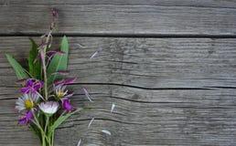 Ramalhete das flores em uma superfície de madeira Imagem de Stock Royalty Free