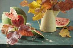 Ramalhete das folhas e da melancia Fotos de Stock Royalty Free