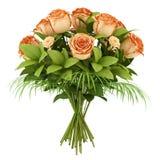Ramalhete das rosas alaranjadas isoladas no branco Fotografia de Stock