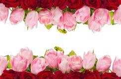 Ramalhete das rosas e das tulipas fotografia de stock