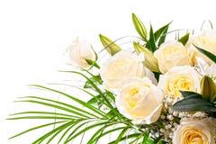 Ramalhete das rosas em um fundo branco Fotos de Stock