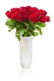 Ramalhete das rosas vermelhas no vaso isolado no fundo branco Imagens de Stock Royalty Free