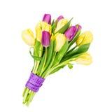 Ramalhete das tulipas amarelas e cor-de-rosa decoradas com a fita, isolada sobre o branco Imagens de Stock
