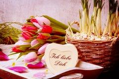 Ramalhete das tulipas e do coração Foto de Stock Royalty Free